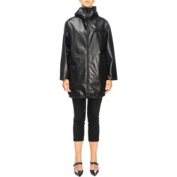 Jacket Prada Medium Leather And Reversible Nylon Jacket With Hood And Triangular Logo