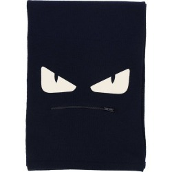 Scarf Fendi Monster Eyes Scarf In Pure Virgin Wool With Maxi Zip Pocket And Eyes Bag Bugs In Leather