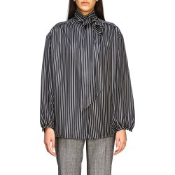 Shirt Balenciaga Striped Silk Shirt With Back Logo