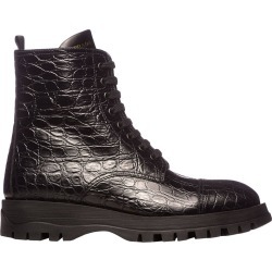 Boots Prada Lace-up Ankle Boots In Croc Print Leather With Zip And Logo