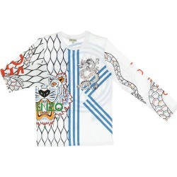 T-shirt Kenzo Junior Long-sleeved Shirt With Maxi Tiger Kenzo Paris All Over Logo