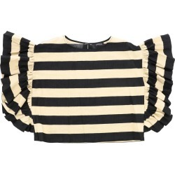Top Monnalisa Cropped Top In Striped Cotton With Ruffles