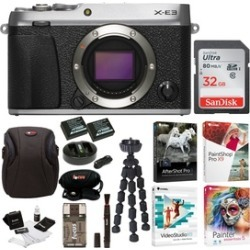 Fujifilm X-E3 Mirrorless Camera (Silver) with 32GB Card and Accessories Bundle