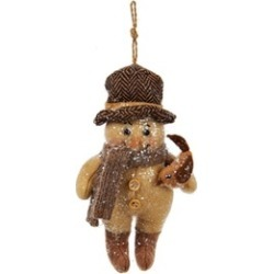 """6"""" Brown Snowman with Knit Scarf Holding a Bird Christmas Ornament"""