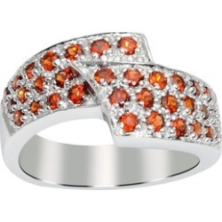 Orchid Jewelry 925 Sterling Silver 1 4/5 Carat Garnet Pave Ring