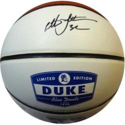 Autographed Christian Laettner Duke Blue Devils White Logo Basketball