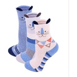 Women Comfortable Cotton Crew Socks with 3d Animal Pattern 3 Pack