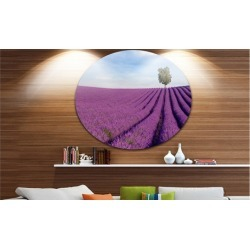 Lavender Field with Solitary Tree' Landscape Photography Circle Metal Wall Art