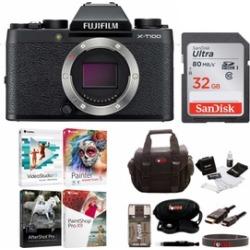 Fujifilm X-T100 Mirrorless Digital Camera (Black) with Accessories Bundle