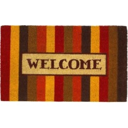 Fall Colors Bold Striped Welcome Entry Door Mat Indoor Outdoor