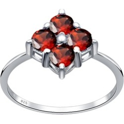 925 Sterling Silver CTW 1.2 Garnet Gemstone Four Stone Ring by Orchid Jewelry