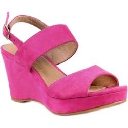 Pink Vegan Suede Women's Wedge Open Toe Sandals Summer Shoes