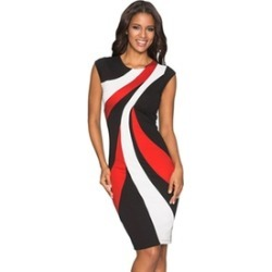 Women's Red/Blue Accents Colorblock Geometric Pattern Tube Dress