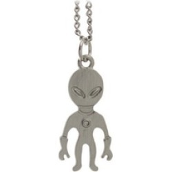 "Tone Jewelry Cute Aliens Pendant 16"" Short Necklace"
