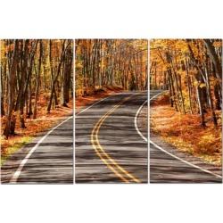 """Split Canvas Art Set 12""""x24"""" 3 Pieces Autumn Road"""