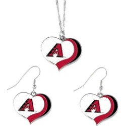 Sports Team Logo MLB Glitter Heart Necklace and Earring Set Charm Gift