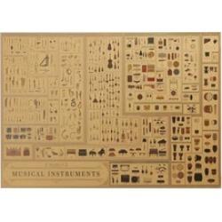 Musical Instrument Kraft Paper Poster Decorative Wall Sticker