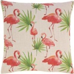 Tropical Flock of Pink Flamingo Print Decorative Throw Toss Pillow