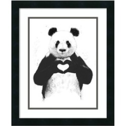 """Framed Art Print 'All You Need Is Love (Panda)' by Balazs Solti: Outer 18x22"""""""