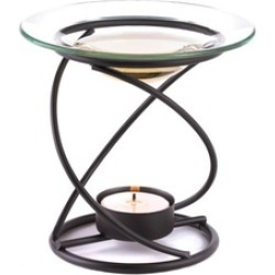 Black Metal Spiral Frangrance Oil Warmer uses Tealight Candle