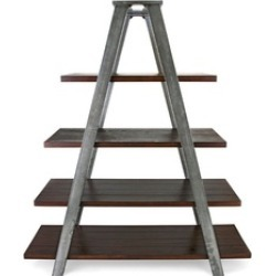 Estella Metal and Wood Ladder Display - Espresso - Benzara