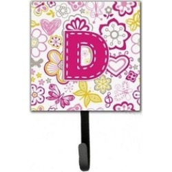 Carolines Treasures CJ2005-DSH4 Letter D Flowers And Butterflies Pink Leash & Ke