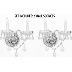 Murano-Venetian Style Crystal Wall Sconces - Set includes 2 fixtures