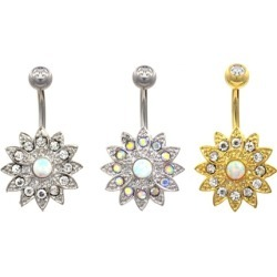 Bedazzled Lotus Flower Belly Button Navel Ring
