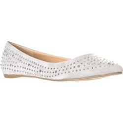 Lasonia Women's Faux Suede Rhinestone Studded Pointed Toe Flats, Grey