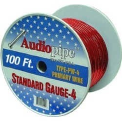 APipe 100ft Roll 4 ga Red Power Wire 1 - PW4100RED