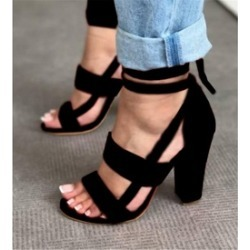 Women's Block High Heels Sandals Lace Up Strappy Ankle Party Shoes