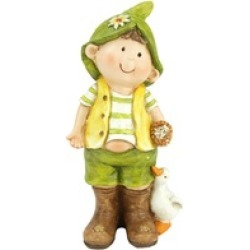 """9.75"""" Young Boy Gnome Standing with Duck Outdoor Garden Patio Figure"""
