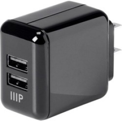Monoprice 2-Port USB Wall Charger 4.2A, Black