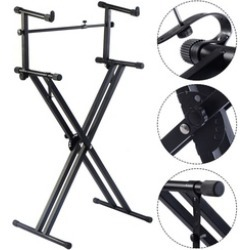 2-Tier X Style Dual Keyboard Stand Adjustable Electronic Piano Double