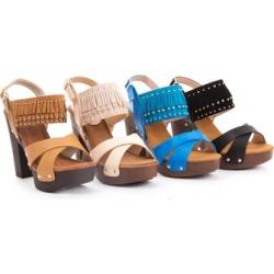 Women's Fringe Ankle Strap Platform Wedge