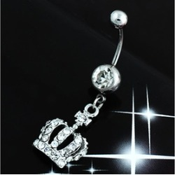 Hot Chic Navel Belly Button Ring Crown Rhinestone Crystal Piercing Body Jewelry
