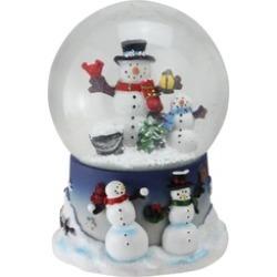 "6.75"" Snowman and Snow-Son Musical Christmas Snow Globe Glitterdome"