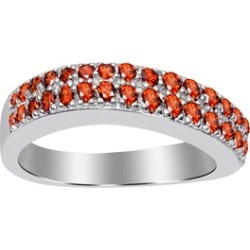 Orchid Jewelry 925 Sterling Silver 0.70 Carat Garnet Twisted Band Ring