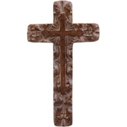 Classic Rustic Rough-Hewn Carvings Antique Finish Wall Cross