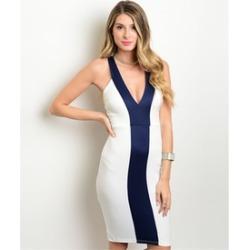 Women Sexy Deep V-neck Block Bodycon Party Slim Cocktail Dress
