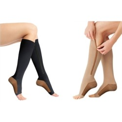 Copper Infused 20-25 mmHg Zipper Compression Socks Swelling Fatigue