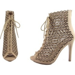 Punched out Peep Toe Bootie w/ Lace & Heel