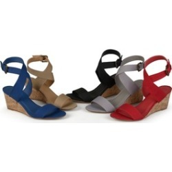 Journee Collection Womens Canvas Ankle Strap Wedges
