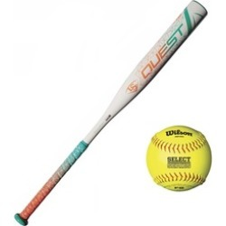 "Louisville Slugger Quest Fast Pitch Softball Bat (31""/29 oz) w/ Ball"