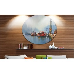 Fishing Boats in Harbor' Disc Landscape Painting Circle Metal Wall Art