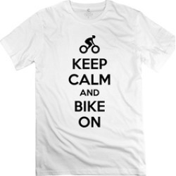 Shuqing Adult Short Sleeve Keep Calm And Bike On Tee Shirts White