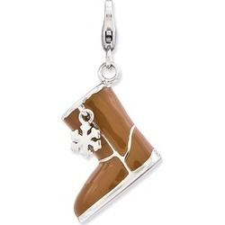 Sterling Silver Rhodium-plated Enameled 3-D Snow Boot w/Lobster Charm