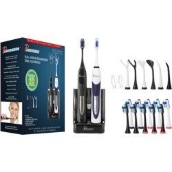 Pursonic Dual-Handle Sonic Toothbrush with 12 Brush Heads