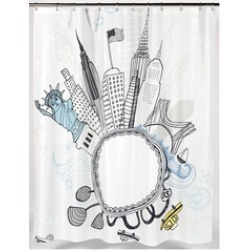 Carnation Home Fashions Funky City Fabric Shower Curtain