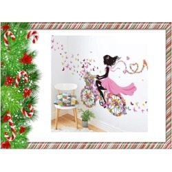 Bicycle Flower Girl Removable Wall Sticker Decal Buy One Get One Free